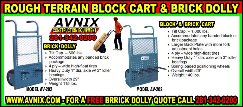 Brick Dolly Amp Block Carts For Rough Terrain For Sale