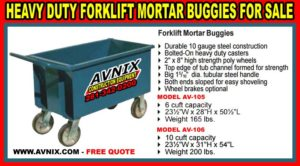Discount Heavy Duty Forklift Mortar Buggies For Sale Cheap
