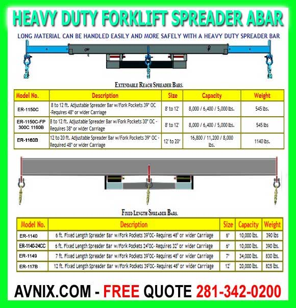 Discount Heavy Duty Forklift Spreader Bars For Sale Made In America