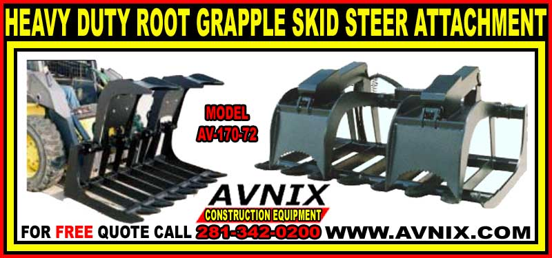 Root Grapple Rake Attachment For Skid Steer Loaders