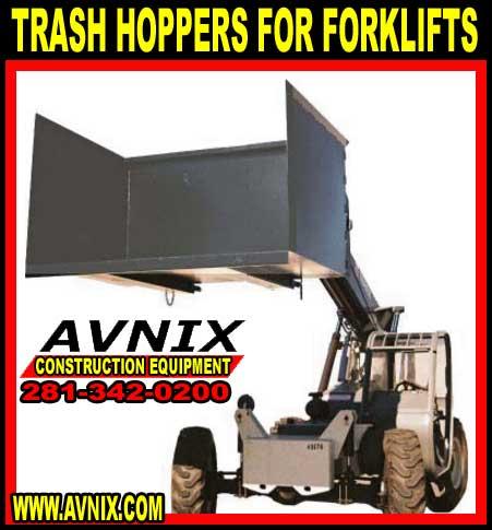 Steel Trash Dump Hoppers For Extended Reach Forklifts For Sale