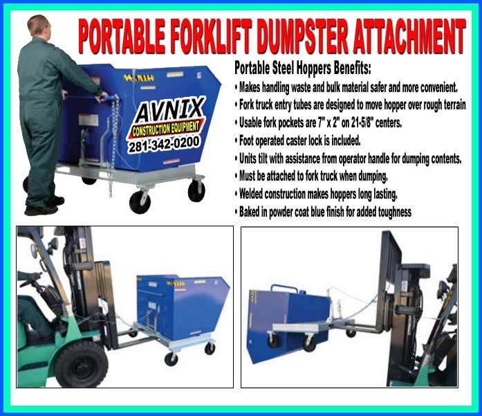 Portable Trash Forklift Dumpster For Sale Cheap