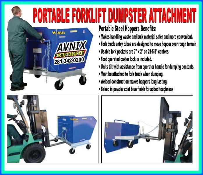 Portable Metal Trash Forklift Hopper Attachment For Sale