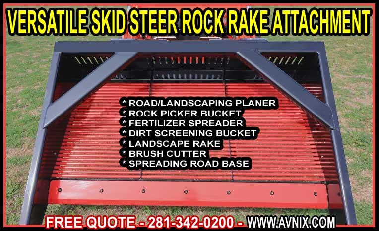 amazing 4 in 1 heavy duty skid steer rock bucket rake attachment