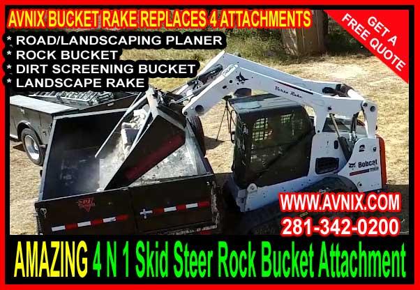 skid steer rock bucket rake attachment avnix construction