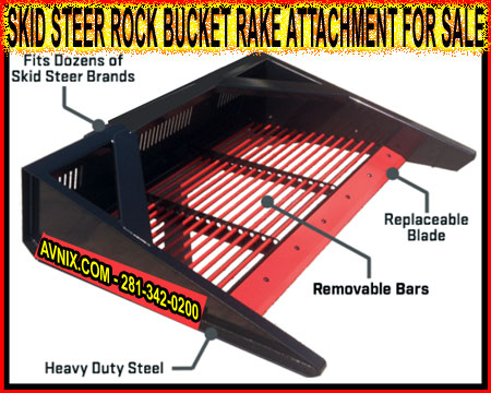 Quick Connect Tractor And Skid Steer Rock Bucket Rake